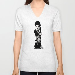 Chaplin and the kid - turquoise Unisex V-Neck