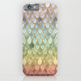 Rainbow Marble Mermaid Scales iPhone Case
