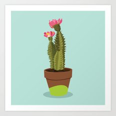 Green Pot Cactus Art Print