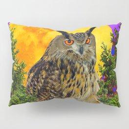 LONG-EARED OWL & MOON PANTENE PURPLE  ART DESIGN Pillow Sham