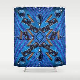 Sapphire Gems Shoes Pattern Shower Curtain