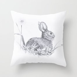 Bunny in the Field Throw Pillow