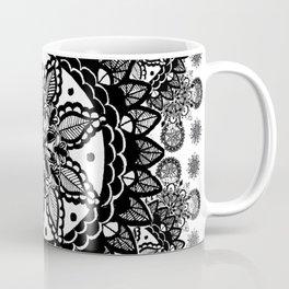 Black and White Chaotic Mandala Pattern Coffee Mug