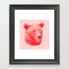 Brown bear is red and pink Framed Art Print