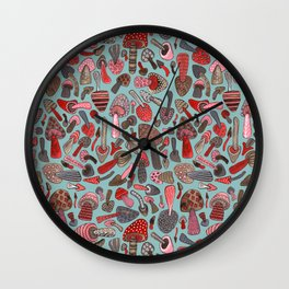 Mushroom Pattern turquoise Wall Clock