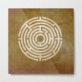 Solving Mazes Gold Metal Print