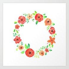 Spring flower wreath Art Print