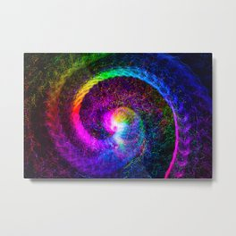 Spiral tie dye light painting Metal Print