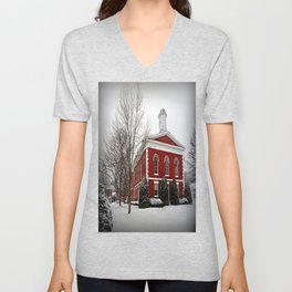 Iron County Courthouse in the Snow Unisex V-Neck