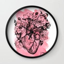 Floral Heart Watercolor Wall Clock