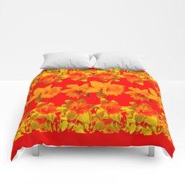 CHINESE RED GOLDEN DAFFODILS GARDEN ART DESIGN Comforters