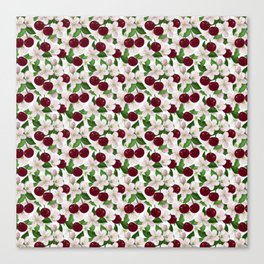 Blush pink burgundy cherries blossom floral pattern Canvas Print