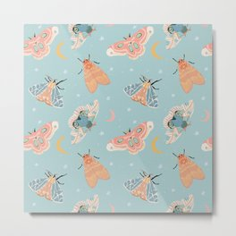 Moth & Moons Pattern - Light Blue Metal Print