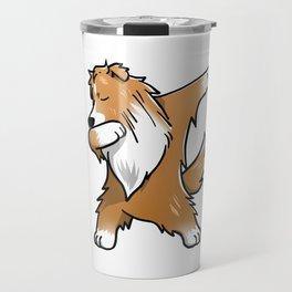 Funny Dabbing Shetland Sheepdog Dog Dab Dance Travel Mug