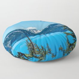 Crater Lake Views // National Park Landscape Photography Clear Deep Blue Waters Floor Pillow