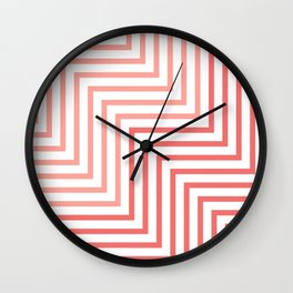 Geometric Art, Colorful Stripes, Pink and White, Abstract Art Wall Clock