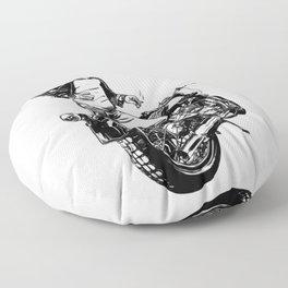Woman Motorcycle Rider Floor Pillow
