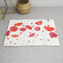 red and orange poppy field Rug