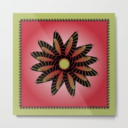 Red Stitched Flower Metal Print