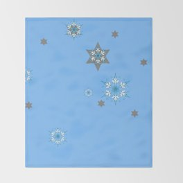 BABY BLUE COLOR & SNOWFLAKES DESIGN ART Throw Blanket