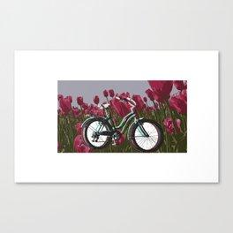 Ridin' through Tulips Canvas Print