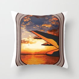 Airplane Window Sunrise Colored Gift Throw Pillow