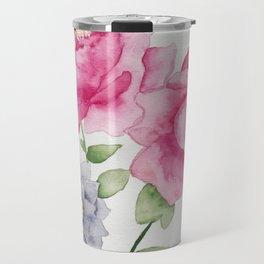 Peonies Floral Watercolor Travel Mug