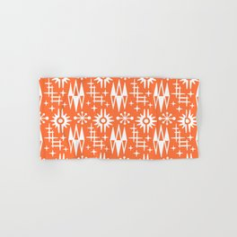 Mid Century Modern Atomic Space Age Pattern Orange Hand & Bath Towel