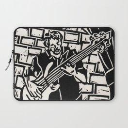 Bijoux's Blues Jazz Bass Bassist Musician Linoleum Block Print Laptop Sleeve