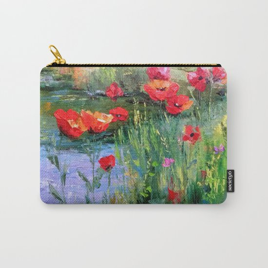 Poppies in a field near a pond Carry-All Pouch
