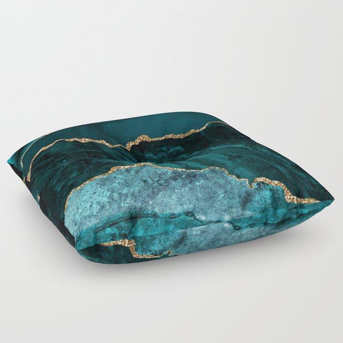 Teal Blue Emerald Marble Landscapes Floor Pillow
