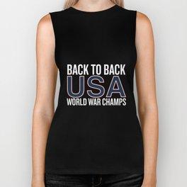 back to back usa world war champs america t-shirts Biker Tank