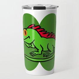 Iguana On 4 Leaf Clover- St. Patricks Day Funny Travel Mug