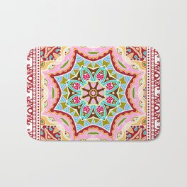 Decorative colorful ornament on white background, symmetric pattern with doodle lace frame. Tribal ethnic mandala decor. Bandana shawl, hijab, tablecloth fabric print, silk neck scarf, kerchief design Bath Mat