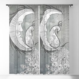 Wonderful peacock on a moon in black and white Sheer Curtain