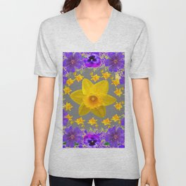 ULTRA VIOLET PURPLE & YELLOW FLOWERS ART DESIGN Unisex V-Neck