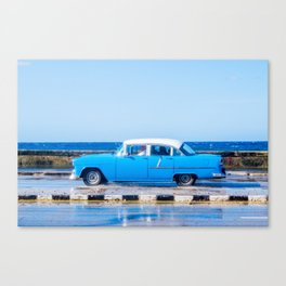 Waves and Classic Cars of the Malecón - 3 Canvas Print