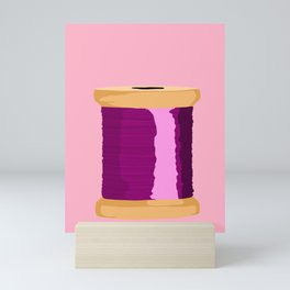 Purple Spool Of Thread Mini Art Print