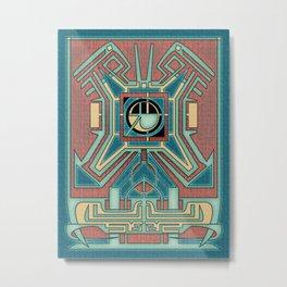 Ancient Guardian - Aztec Revival Art Deco Metal Print