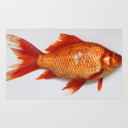 Red Gold Fish Rug