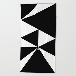 Triangles in Black and White Beach Towel
