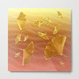 Golden Ginko Metal Print
