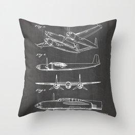 Hughes Lockheed Airplane Patent - Hughes Aviation Art - Black Chalkboard Throw Pillow