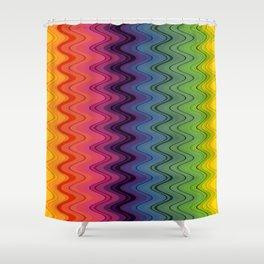 Rainbow waves pattern vertical Shower Curtain