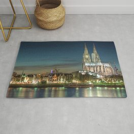 Cologne Cathedral and Cologne, Germany Skyline at Twilight Rug