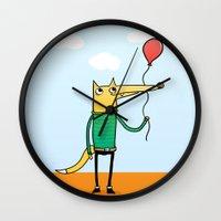 baloon Wall Clocks featuring Fox & Baloon by Pedro Vilas Boas