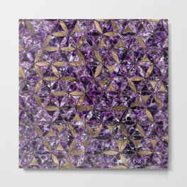 Flower of life pattern - Amethyst and Gold Metal Print