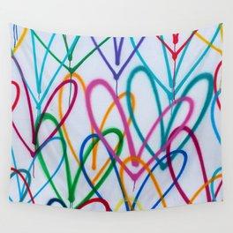 Multicoloured Love Hearts Graffiti Repeat Pattern Wall Tapestry