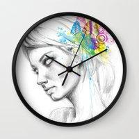 butterflies Wall Clocks featuring Butterflies by Olechka