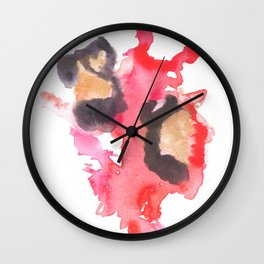 Watercolor Pink Black Flow | [dec-connect] 18. two hearts Wall Clock